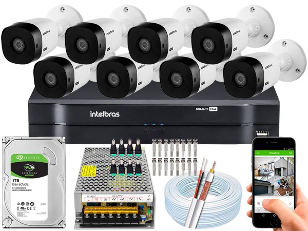 Kit CFTV Intelbras 08 Câmeras VHL 1220 B e DVR de 08 Canais MHDX 1108