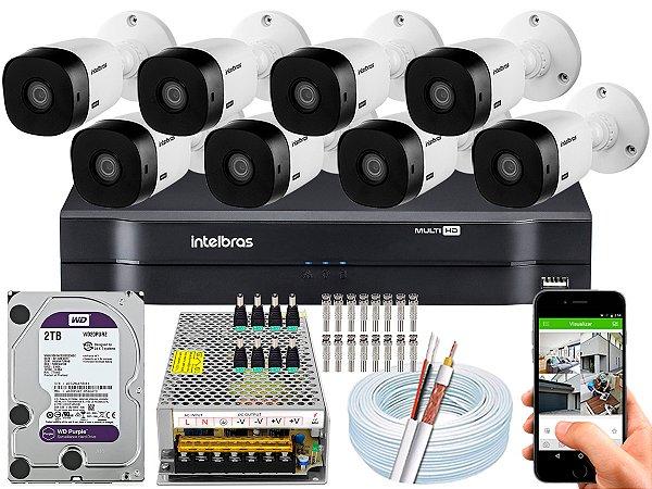 Kit CFTV Intelbras 08 Câmeras VHL 1220 B e DVR de 08 Canais MHDX 1108 2TB WD Purple