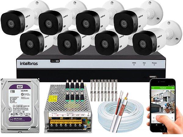 Kit CFTV Intelbras 08 Câmeras VHL 1220 B e DVR de 08 Canais MHDX 3108 1TB WD Purple
