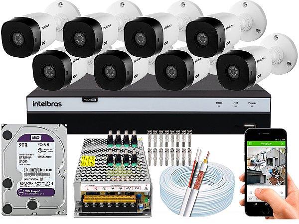 Kit CFTV Intelbras 08 Câmeras VHL 1220 B e DVR de 08 Canais MHDX 3108 2TB WD Purple