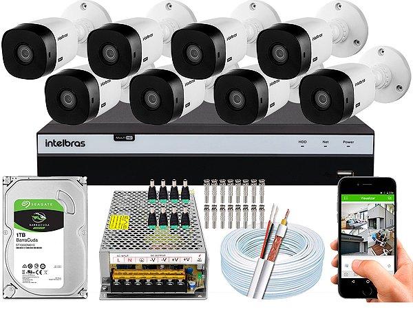 Kit CFTV Intelbras 08 Câmeras VHL 1220 B e DVR de 16 Canais MHDX 3116