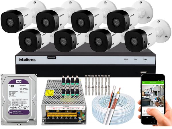 Kit CFTV Intelbras 08 Câmeras VHL 1220 B e DVR de 16 Canais MHDX 3116 1TB WD Purple