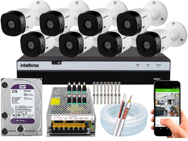 Kit CFTV Intelbras 08 Câmeras VHL 1220 B e DVR de 16 Canais MHDX 3116 2TB WD Purple