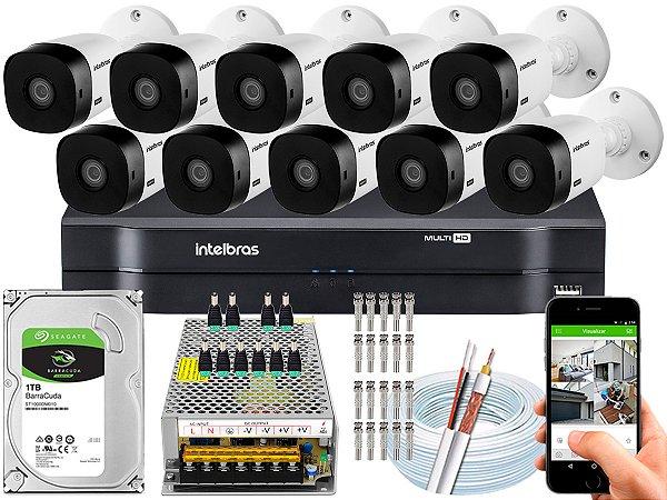 Kit CFTV Intelbras 10 Câmeras VHL 1220 B e DVR de 16 Canais MHDX 1116
