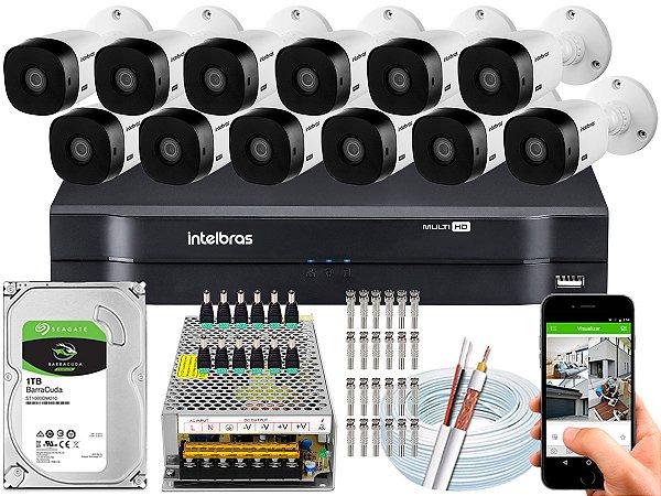 Kit CFTV Intelbras 12 Câmeras VHL 1220 B e DVR de 16 Canais MHDX 1116