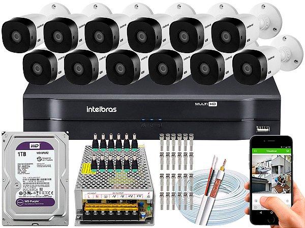 Kit CFTV Intelbras 12 Câmeras VHL 1220 B e DVR de 16 Canais MHDX 1116 1TB WD Purple