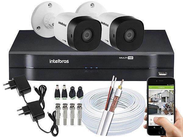 Kit CFTV Intelbras 02 Câmeras VHD 1010 B G5 e DVR de 04 Canais MHDX 1104 Sem HD