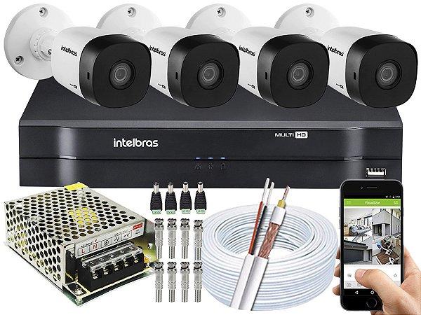 Kit CFTV Intelbras 04 Câmeras VHD 1010 B G5 e DVR de 04 Canais MHDX 1104 Sem HD