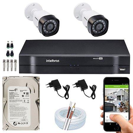 Kit CFTV Intelbras 02 Câmeras VHD 1220 B G4 e DVR de 04 Canais MHDX 1104 500GB