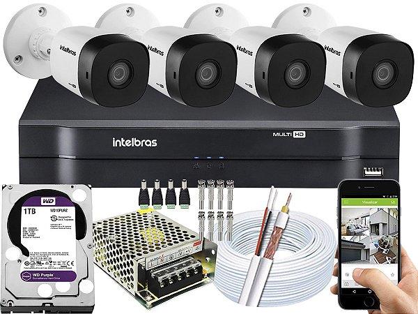 Kit CFTV Intelbras 04 Câmeras VHD 1010 B G5 e DVR de 04 Canais MHDX 1104 1TB WD Purple