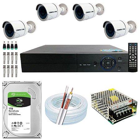 Kit CFTV 04 Câmeras AHD e DVR de 04 Canais Multi HD 1TB