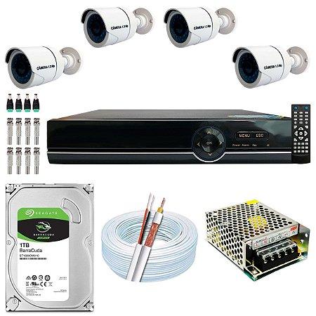 Kit CFTV 04 Câmeras AHD e DVR de 08 Canais EJCF-9008T