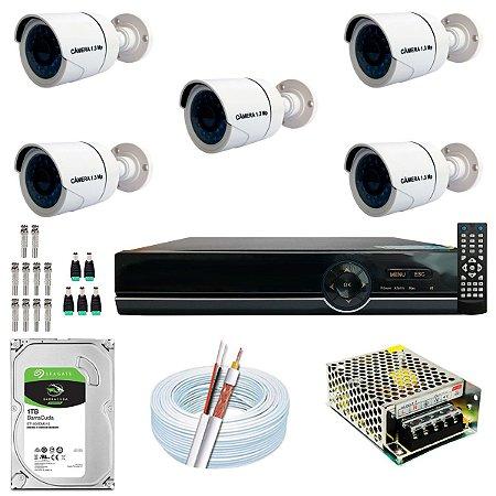 Kit CFTV 05 Câmeras AHD e DVR de 08 Canais EJCF-9008T