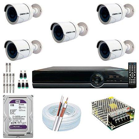 Kit CFTV 05 Câmeras AHD e DVR de 08 Canais EJCF-9008T 1TB WD Purple