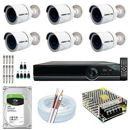 Kit CFTV 06 Câmeras AHD e DVR de 08 Canais EJCF-9008T