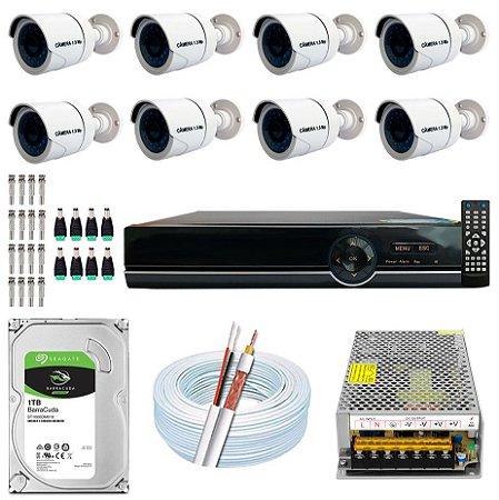 Kit CFTV 08 Câmeras AHD e DVR de 08 Canais EJCF-9008T