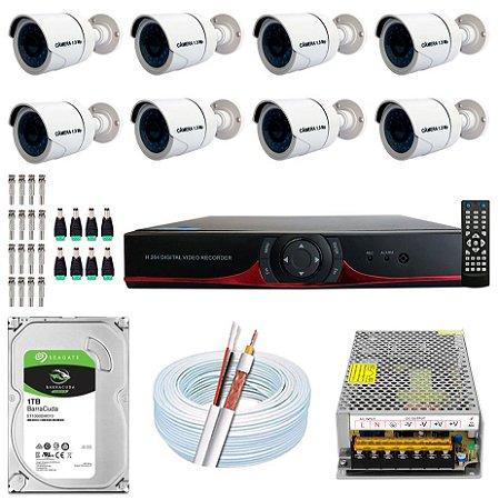 Kit CFTV 08 Câmeras AHD e DVR de 16 Canais 9016T