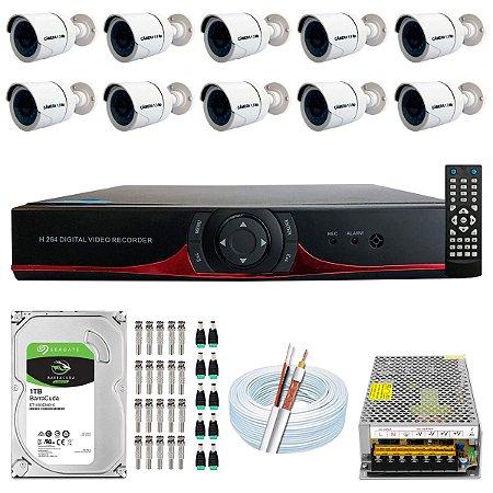 Kit CFTV 10 Câmeras AHD e DVR de 16 Canais 9016T
