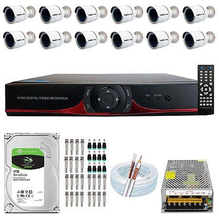Kit CFTV 12 Câmeras AHD e DVR de 16 Canais 9016T