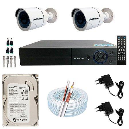 Kit CFTV 02 Câmeras AHD e DVR de 04 Canais Multi HD 500GB