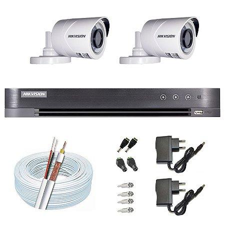 Kit CFTV Hikvision 02 Câmeras THC-B120C-P e DVR de 04 Canais DS-7204 HQHI-K1 S/ HD