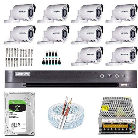 Kit CFTV Hikvision 10 Câmeras THC-B120C-P e DVR de 16 Canais DS-7216 HQHI-K1