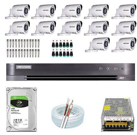 Kit CFTV Hikvision 12 Câmeras THC-B120C-P e DVR de 16 Canais DS-7216 HQHI-K1