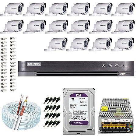 Kit CFTV Hikvision 16 Câmeras THC-B120C-P e DVR de 16 Canais DS-7216 HQHI-K1 1TB WD Purple