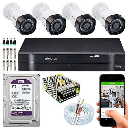 Kit CFTV Intelbras 04 Câmeras VHD 3130 B G4 e DVR de 04 Canais MHDX 1104 1TB WD Purple