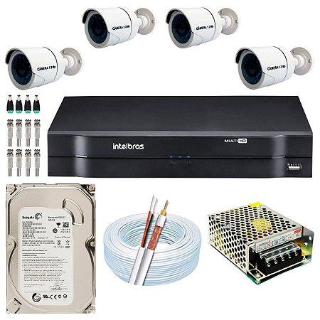Kit CFTV 04 Câmeras AHD e DVR de 04 Canais MHDX 1104 500GB