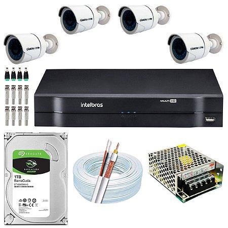 Kit CFTV 04 Câmeras AHD e DVR de 08 Canais MHDX 1108