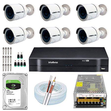 Kit CFTV 06 Câmeras AHD e DVR de 08 Canais MHDX 1108 10A
