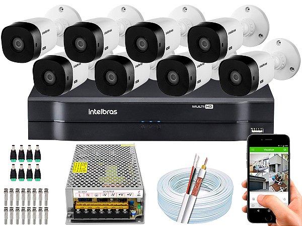 Kit CFTV Intelbras 08 Câmeras VHL 1220 B e DVR de 08 Canais MHDX 1108 S/ HD