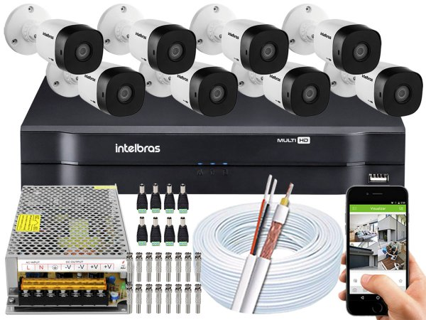 Kit CFTV Intelbras 08 Câmeras VHD 1010 B G5 e DVR de 08 Canais MHDX 1108 Sem HD