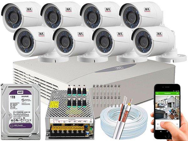 Kit CFTV JFL 08 Câmeras CHD-2230P e DVR de 08 Canais DHD-3308 1TB WD Purple