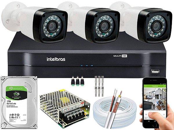 Kit CFTV 03 Câmeras EJCF-3200 e DVR de 04 Canais MHDX 1104 1TB