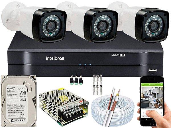 Kit CFTV 03 Câmeras EJCF-3200 e DVR de 04 Canais MHDX 1104 500GB