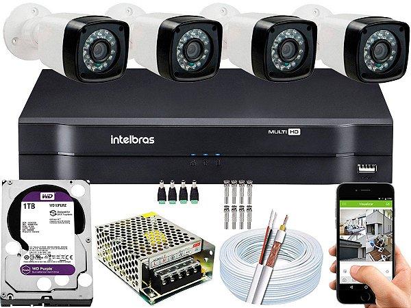 Kit CFTV 04 Câmeras EJCF-3200 e DVR de 04 Canais MHDX 1104 1TB WD Purple