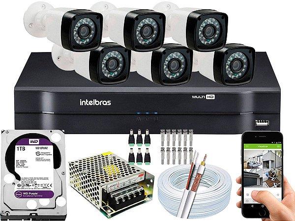 Kit CFTV 06 Câmeras EJCF-3200 e DVR de 08 Canais MHDX 1108 1TB WD Purple
