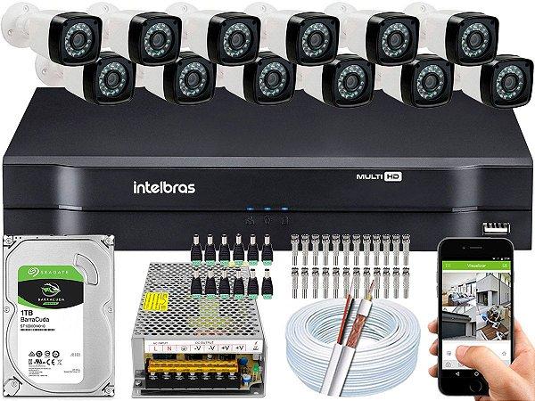 Kit CFTV 12 Câmeras EJCF-3200 e DVR de 16 Canais MHDX 1116