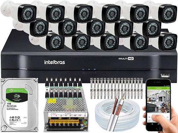 Kit CFTV 16 Câmeras EJCF-3200 e DVR de 16 Canais MHDX 1116