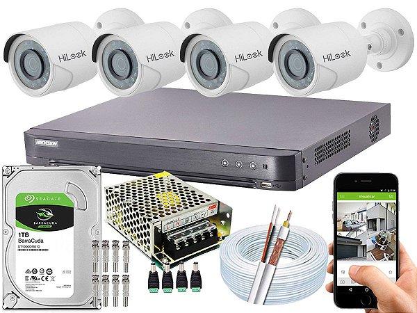 Kit CFTV Hikvision 04 Câmeras THC-B120C-P e DVR de 04 Canais DS-7204 HQHI-K1 1TB