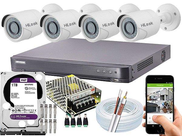 Kit CFTV Hikvision 04 Câmeras THC-B120C-P e DVR de 04 Canais DS-7204 HQHI-K1 1TB WD Purple