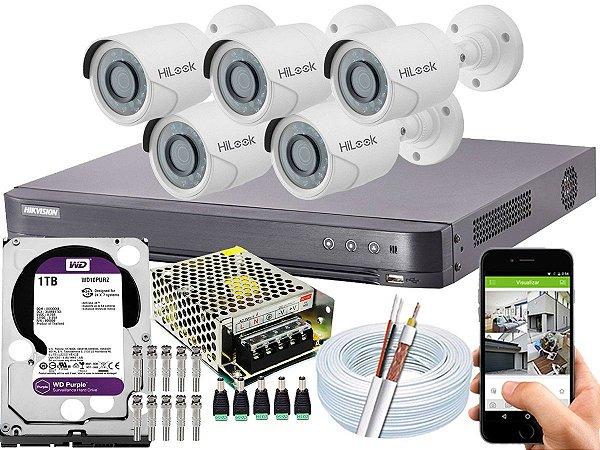Kit CFTV Hikvision 05 Câmeras THC-B120C-P e DVR de 08 Canais DS-7208 HQHI-K1 1TB WD Purple