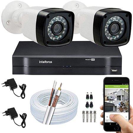 Kit CFTV 02 Câmeras EJCF-3200 e DVR de 04 Canais MHDX 1104 S/ HD