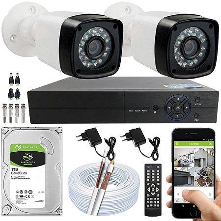 Kit CFTV 02 Câmeras EJCF-3200 e DVR de 04 Canais Multi HD 1TB