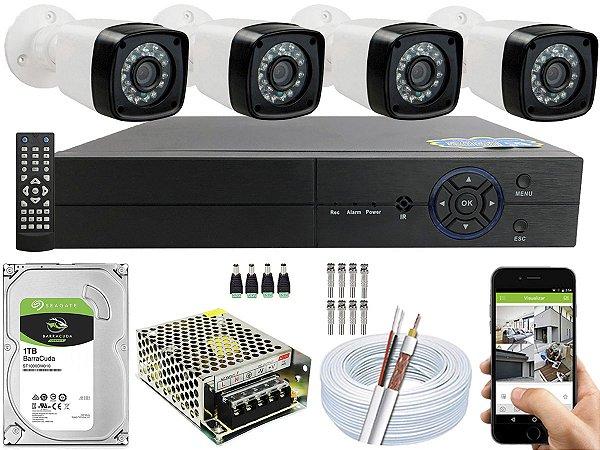 Kit CFTV 04 Câmeras EJCF-3200 e DVR de 04 Canais Multi HD 1TB