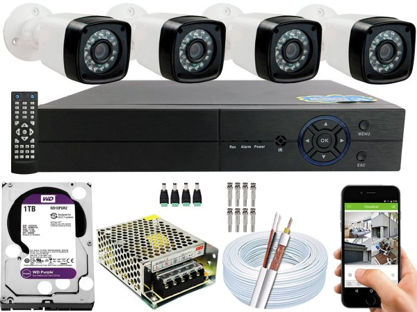Kit CFTV 04 Câmeras EJCF-3200 e DVR de 04 Canais Multi HD 1TB WD Purple