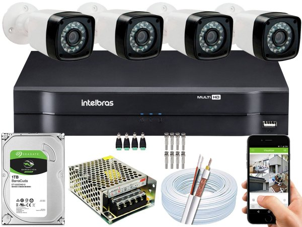 Kit CFTV 04 Câmeras EJCF-3200 e DVR de 08 Canais MHDX 1108 1TB