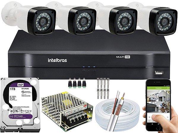 Kit CFTV 04 Câmeras EJCF-3200 e DVR de 08 Canais MHDX 1108 1TB Purple